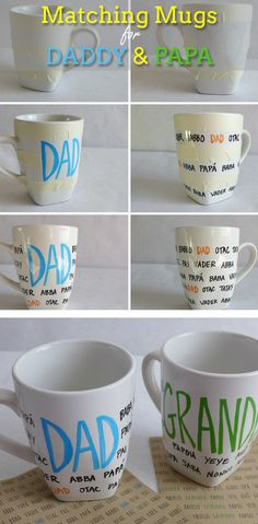 DIY Fathers Day Mugs - DIY Fathers Day Crafts For Kids - Click for Tutorial