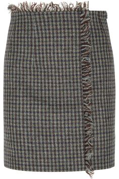 Multicolored wool-tweed Concealed zip fastening along side wool; Grey Mini Skirt, Tweed Mini Skirt, Gray Skirt, Fall Skirts, Mini Skirts, Short Skirts, Larsson And Jennings Watch, Checkered Skirt, Wrap Around Skirt