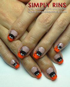 Spider Tips Nail Art Design