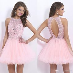 Cheap Homecoming Dresses - Discount Crew Neck Sleeveless Short Homecoming Party Dress Beaded Online with $107.44/Piece | DHgate