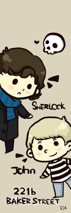 Cute Cartoon Sherlock and John :)