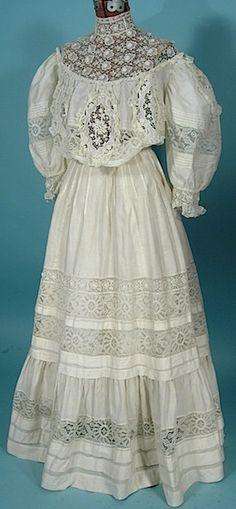 """c. 1905 Off White Silk/Linen Fancy Lace 2-piece """"Graduation"""" Gown"""
