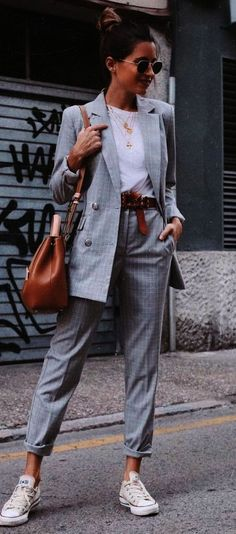 casual office style perfection \/ grey suit tee bag converse #fashiondesigners