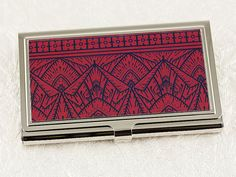 Art Deco Business Card Case in Crimson Red by Decorative Design Works | Great gift for men!