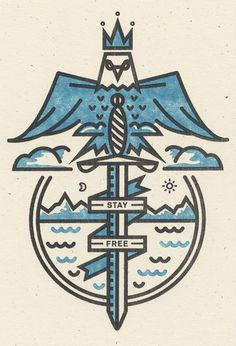 Eagle, Bird, Sword, Mountains, Sun, Moon, Mountains, Illustration, Paper, Clouds