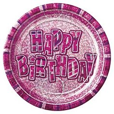 """PACK OF 8 BLUE HAPPY BIRTHDAY GLITZ PAPER PARTY PLATES 9/"""""""