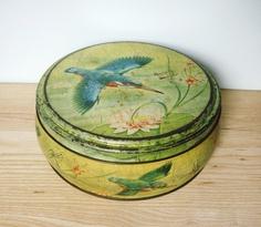 vintage kingfisher cake tin - kitchen or household storage. $28.00, via Etsy.
