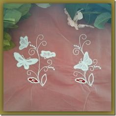 Exclusive Stitches: ES007 - Carrickmacross Lace Butterflies II Stitch Design, Machine Embroidery Designs, Stitches, Butterflies, Crochet, Lace, Tulle, Stitching, Stitch