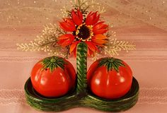 Vintage 1940's Salt and Pepper Shakers / 3 Pc. Tomato in Basket Shaker Set /  Table Ware (8.00 USD) by GroovyDoozyVintage