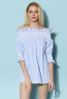 Honey Stripes Off-shoulder Tunic in Blue - Retro, Indie and Unique Fashion