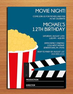 Party invitation postcards drive in movie outdoor movie party for movie party customized printable birthday party invitation cards diy stopboris Image collections