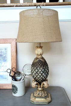 Savvy Southern Style: brown pineapple lamp with burlap shade Pineapple Lamp, Savvy Southern Style, French Country, Garden Design, Home And Garden, Table Lamp, Shades, Guest Room, Burlap