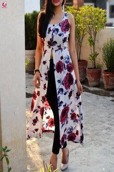 Buy Powder Blue Floral Printed Crepe Front Slit Kurti Online in India Indian Fashion Dresses, Indian Gowns Dresses, Dress Indian Style, Indian Designer Outfits, Indian Outfits, Designer Dresses, Stylish Dress Designs, Stylish Dresses, Casual Dresses