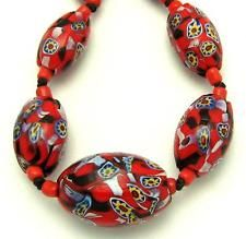 Art Deco Venetian Matched Millefiori Ornate Canes Glass Beads Necklace