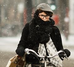 Cycle Chic-ish: the winter commute (practicality note: beware the combination of wind, riding, and hats...)