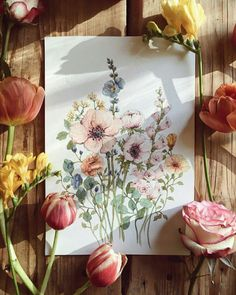 Log in - wear a mask and blablabla - Art Floral, Painting Inspiration, Art Inspo, Watercolor Flowers, Watercolor Paintings, Watercolors, Wildflower Drawing, Spring Painting, Spring Drawing