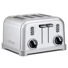 The Cuisinart CPT 180 Metal Classic 4 Slice Toaster has a smooth brushed stainless housing with polished chrome and black accents. With 1 12 inch wide toasting slots slide out crumb tray and convenient cord wrap toasting has never been easier. Four Slice Toaster, Pop Up Toaster, Retro Toaster, Stainless Steel Toaster, Brushed Stainless Steel, Stainless Kitchen, Brushed Metal, Small Appliances, Toaster