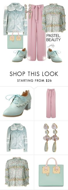 """""""Pastel Beauty"""" by jfcheney ❤ liked on Polyvore featuring Miss Selfridge, Shrimps, Étoile Isabel Marant and Sophie Hulme"""
