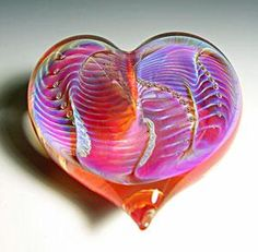Orange Silver Heart Paperweight