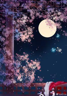 Scenery Wallpaper, Galaxy Wallpaper, Wallpaper Backgrounds, Wallpaper Animes, Kawaii Wallpaper, Chinese Artwork, Art Asiatique, Anime Scenery, Moon Art