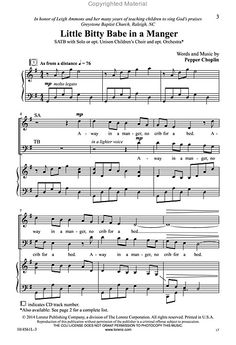 The christmas can can as performed by straight no chaser three look inside little bitty babe in a manger satb choir solo voice piano with optional orchestrationcomposed by pepper choplin fandeluxe Image collections