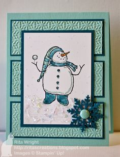 cute snowman image from Stampin Up...lice the layout with the three textured panels...