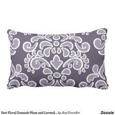 Ikat Floral Damask Plum and Lavender Lumbar Pillow