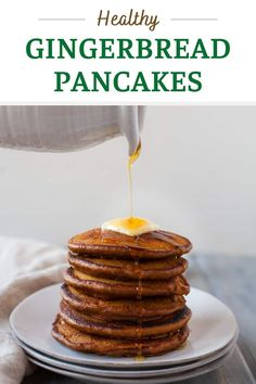 These healthy gingerbread pancakes are a delicious addition to a holiday brunch and perfect for a lazy weekend winter morning. Fluffy buttermilk pancakes made with whole-wheat flour and packed with warming spices like ginger, nutmeg, and cinnamon. Brunch Ideas, Brunch Recipes, Yummy Recipes, Great Recipes, Breakfast Recipes, Yummy Food, Healthy Recipes, Healthy Breakfast Choices, Quick And Easy Breakfast