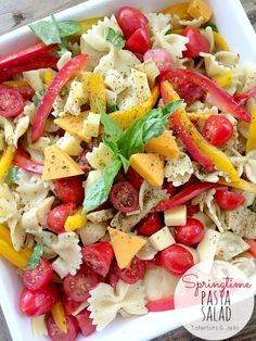 Springtime Pasta Salad with [@Sargento Cheese] -- Tatertots and Jello