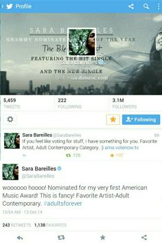 Sara Bareilles, Chat Board, Grammy Nominations, American Music Awards, Just The Way, Love Her, How Are You Feeling, Feelings, Awesome