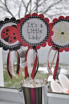 3 Centerpiece Sticks Ladybug Personalized - Birthdays or Baby Showers. $10.00, via Etsy.