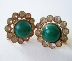 Vintage 50s Mid Century Hollywood Regency Goldtone Rhinestone Faux Jade Cabochon Earrings by ThePaisleyUnicorn, $4.00