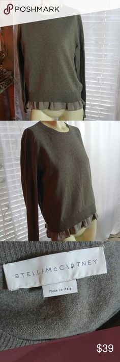 STELLA MCCARTHY Taupe Wool Ruffle Trim Sweater Authentic, in very good condition. Sweat and chic. Made in Italy. Italy size 44. 100% Virgin Wool, trim 100% Silk. Stella McCartney Sweaters Crew & Scoop Necks