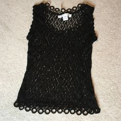 NWOT Betty Paige crocheted top Pretty black crocheted top with crocheted covered rings around the top and bottom Tops