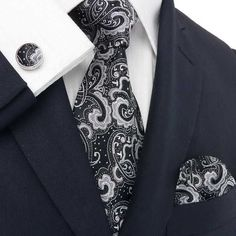 Classic #Black #FathersDay #Wedding #Groom #Groomsmen #GotKnot - #Ties #Tie set deluxe set 1831E, $49.95 (http://www.gotknot.com/got-knot-deluxe-set-1831e/) #Men