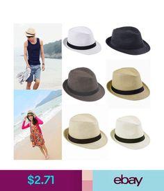 Hats Fedora Panama Wide Brim Sun Hat Beach Summer Sunhat Trilby Straw Cap  Man Women  ebay  Fashion 30312d85c9e