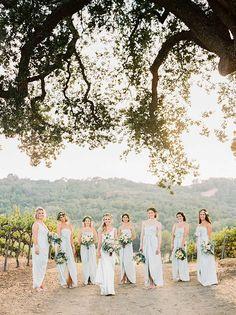 Elegant Bridesmaids in Blue Silk | Danielle Poff Photography | Natural Elegance at a Southern California Vineyard