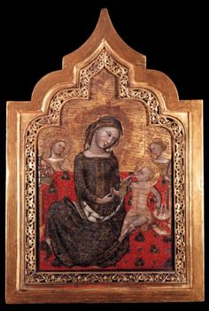 """Another knitting Madonna and Child. This one is """"Madonna dell'Umilta"""" by Vitale da Bologna c. Second pic in article also shows a nice spool holder. Google Art Project, Knit Art, Late Middle Ages, Italy Art, Renaissance, Web Gallery, European Paintings, Madonna And Child, Italian Artist"""