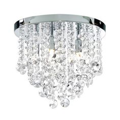 Litecraft Montego Flush 6 Light Chrome Crystal Ceiling Light- at Debenhams.com
