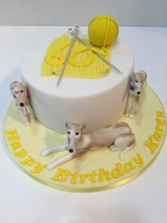 A whippet and knitting cake - Dec 2015