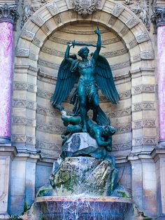 Archangel Michael and the devil is the centerpiece of the Fontaine Saint-Michel. It is located in Place Saint-Michel in the 5th arrondissement in Paris. It was constructed in 1858-1860 during the French Second Empire by the architect Gabriel Davioud.