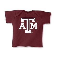 Texas A&M Aggies NCAA Beveled Logo Maroon Infant Lap Shoulder T-Shirt