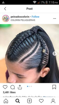 @PEINADOSCOLORIN Summer Hairstyles, Braided Hairstyles, Cornrows, Braid Styles, Box Braids, Hair Designs, Medium Hair Styles, Updos, Hair Beauty