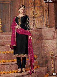 BELA D.NO.-434 RATE : 1305 - ARMANI BY BELA FASHION 432 TO 438 SERIES  BEAUTIFUL STYLISH FANCY COLORFUL CASUAL WEAR & ETHNIC WEAR SATIN GEORGETTE EMBROIDERED DRESSES AT WHOLESALE PRICE AT DSTYLE ICON FASHION CONTACT: +917698955723 - DStyle Icon Fashion
