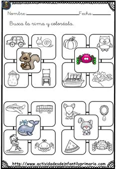 Rima y Colorea. Conciencia Fonológica Preschool Spanish, Spanish Lessons For Kids, Spanish Activities, Activities For Kids, Speech Language Therapy, Speech And Language, Speech Therapy, Bilingual Classroom, Phonological Awareness