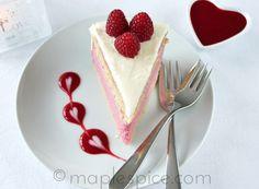 Valentines: Raspberry White Chocolate Mousse Cake.