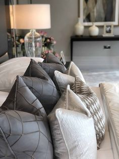 Beautifully plumped cushions in varied textures and fabrics add a sumptuous, luxurious look to our master bedroom design. Master Bedroom Design, Home Bedroom, Bedrooms, Home Interior Design, Interior Decorating, Modern Interior, Decorating Tips, Dyi, Best Decor