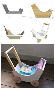 """DIY Doll pram or stroller made from wood scraps. Build the pram bottom and ends with 3/4"""" pocket holes on underside. Project Type: Toys Room: Kids and ToysNursery and Babymain_category: Handmade #WoodProjectsDiyToys"""