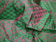 Green Indian Jacquard Brocade Wedding Dress Fabric By The Yard | Etsy Brocade Fabric, Jacquard Fabric, Fabric Decor, Fabric Design, Fabric Sofa, Cotton Silk, Printed Cotton, Wedding Fabric, Wedding Dress