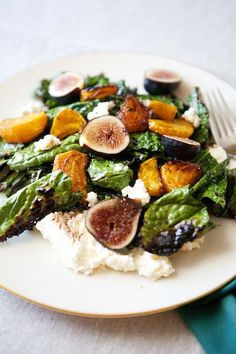 Grilled kale salad with beets, figs, and ricotta -- such a delicious winter salad recipe, but so easy to adapt to other seasons!